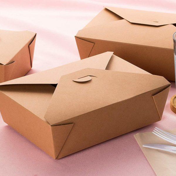 Envases de cartón Kraft para hamburguesas.